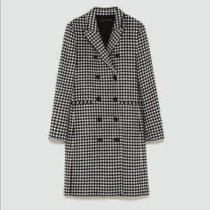 Zara Double Breasted Gingham Coat Checked Long S